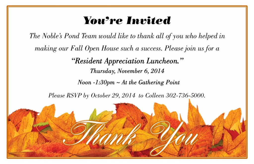 Resident Thank you Fall Open House Lunch