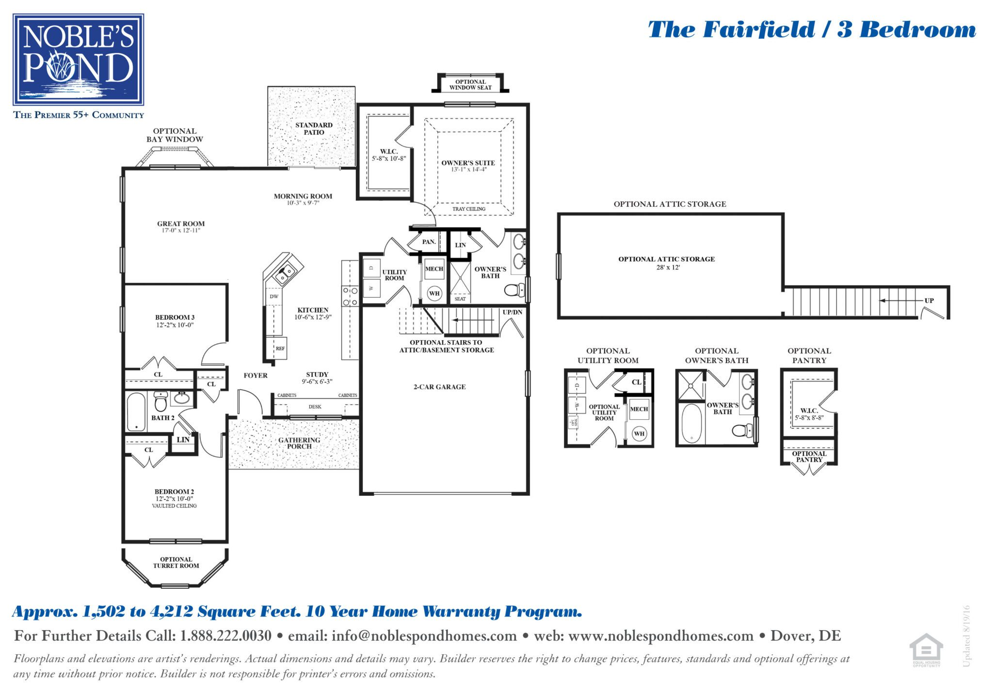 Three Bedroom the fairfield 3-bedroom ranch home   noble's pond homes